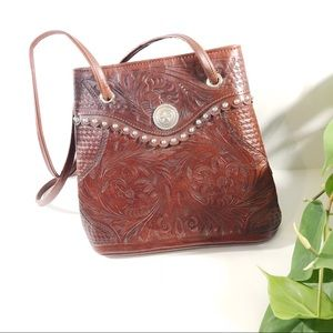 American West EUC Hand Tooled Leather Bag